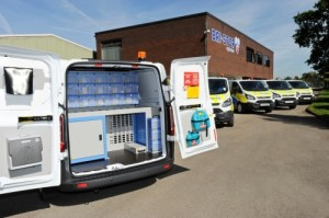 The Ford Transit Customs are equipped with racking systems and first aid...
